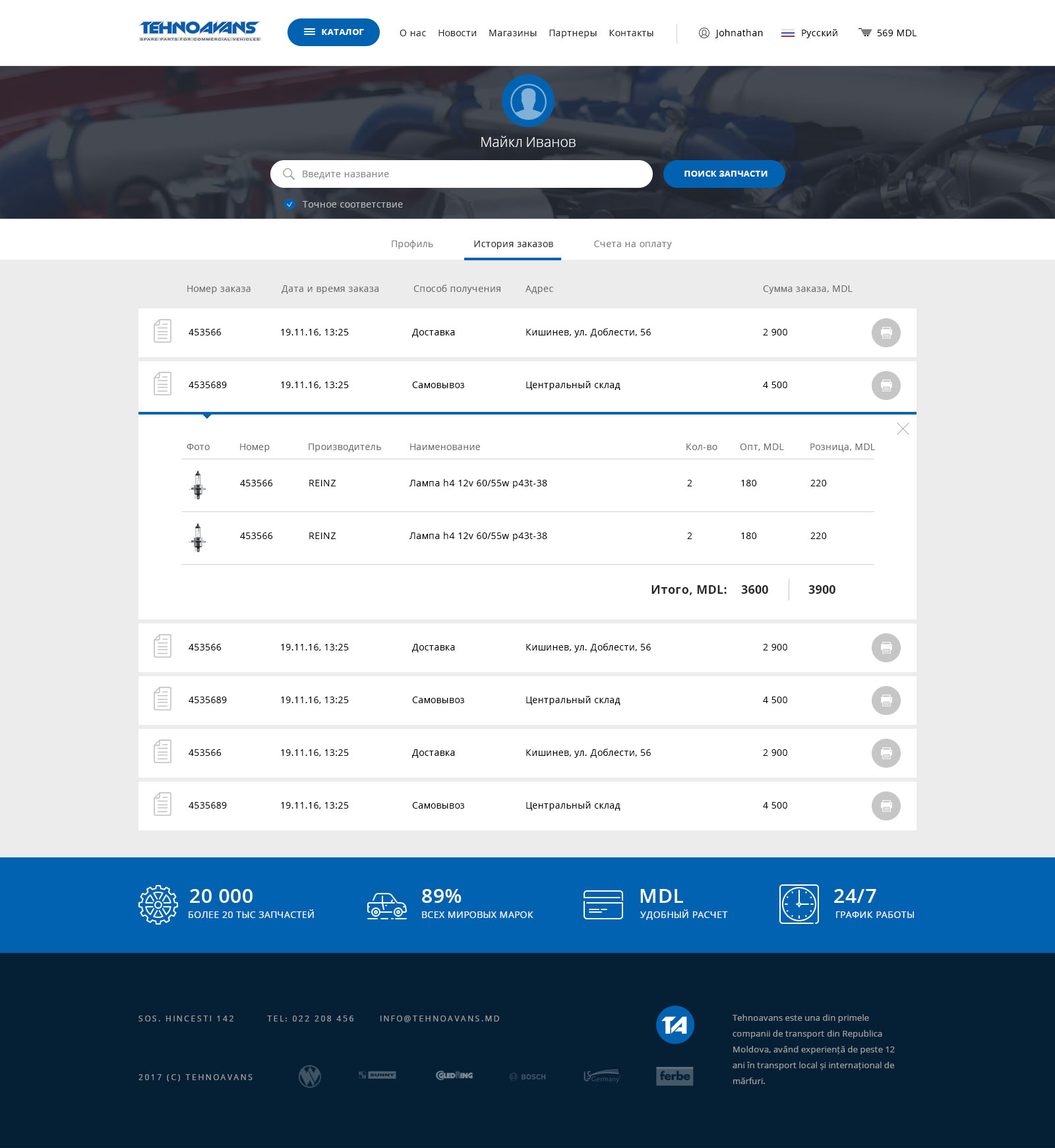 Website for the spare parts Tehnovans