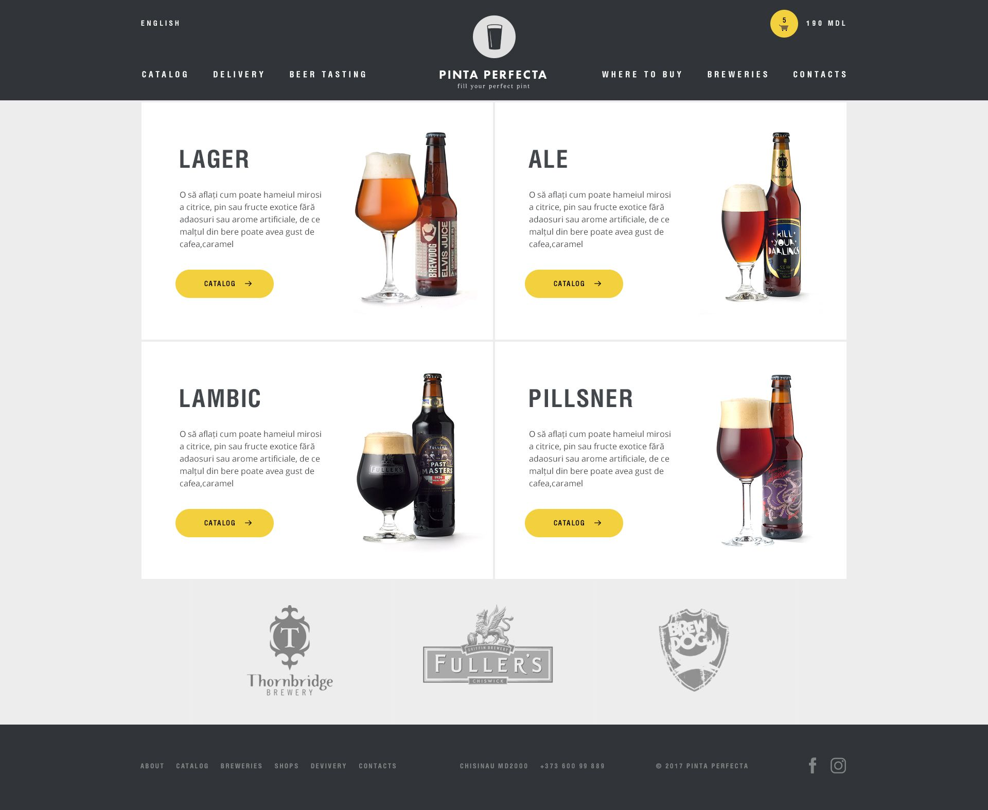 Website for the importer and distributor of beer